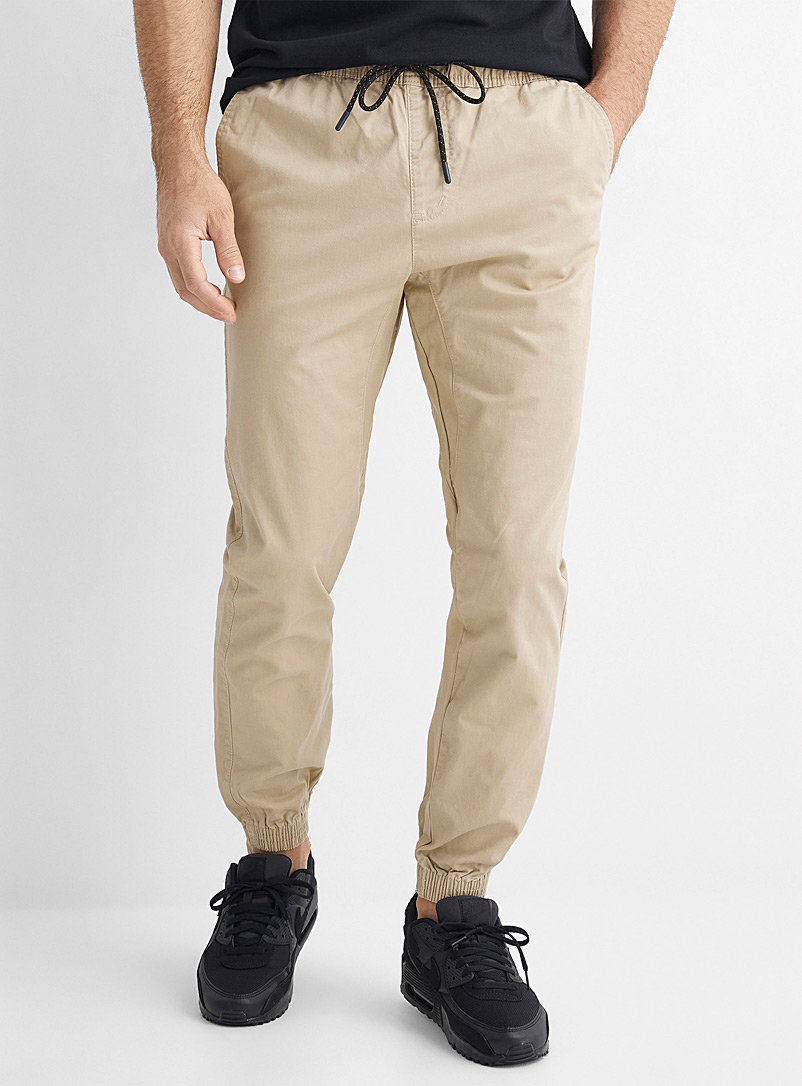 Le 31 Patterned Ecru Organic cotton jogger chinos Skinny fit for men