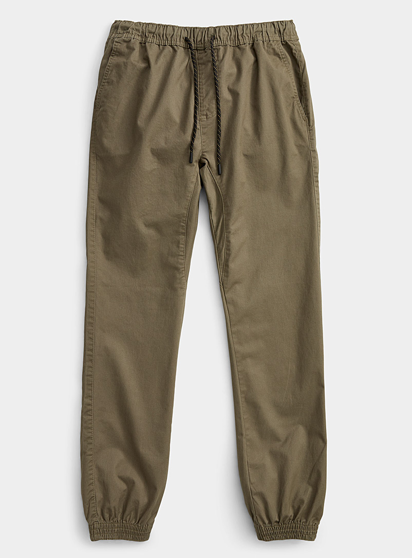 Le 31 Ecru/Linen Organic cotton jogger chinos  Skinny fit for men