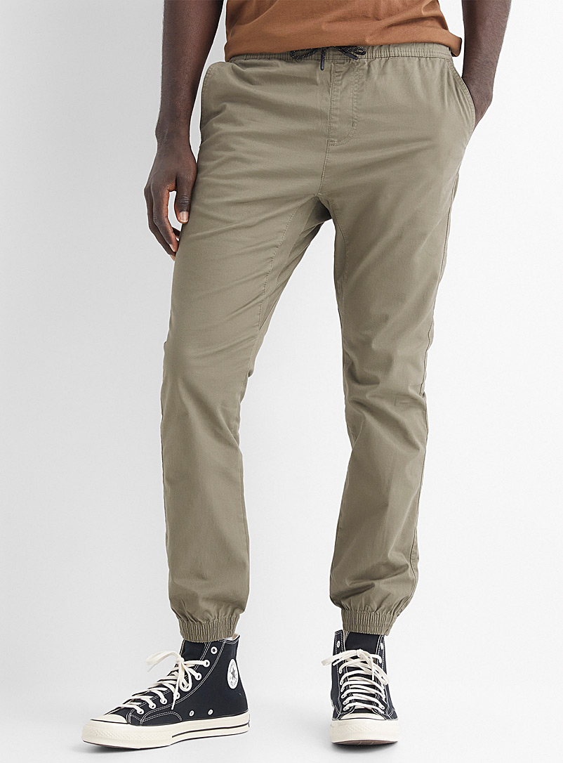 Le 31 Bottle Green Organic cotton jogger chinos Skinny fit for men