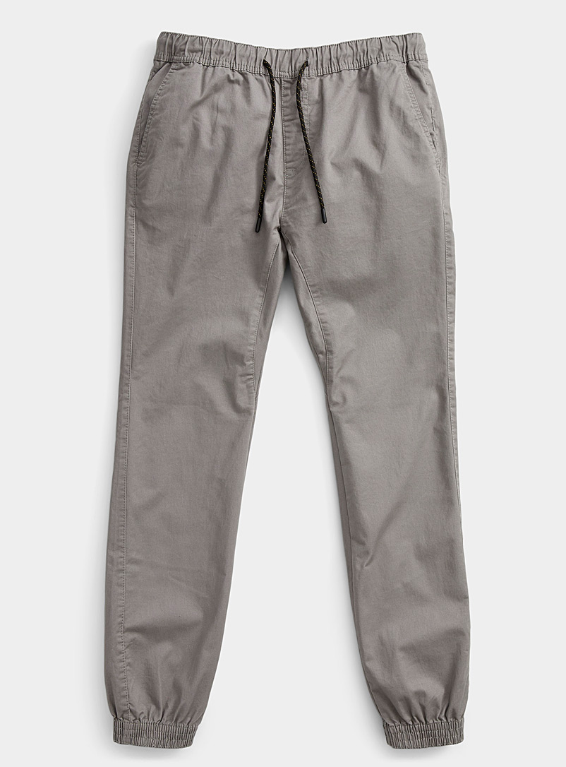 Le 31 Grey Organic cotton jogger chinos Skinny fit for men
