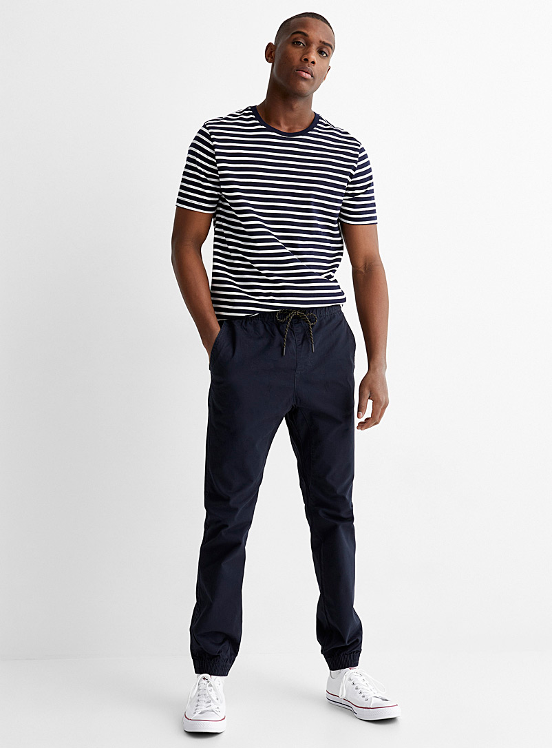 Le 31 Marine Blue Organic cotton jogger chinos Skinny fit for men