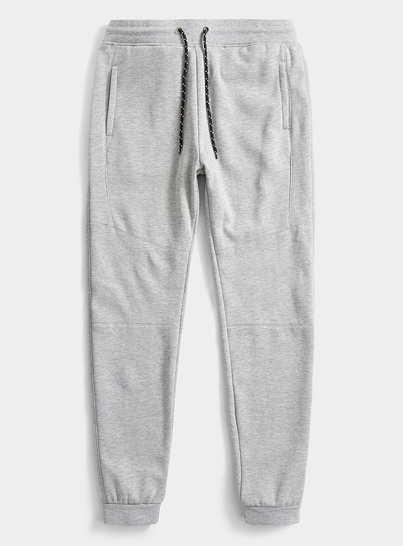 Le 31 Grey Graphic seam sweat joggers for men
