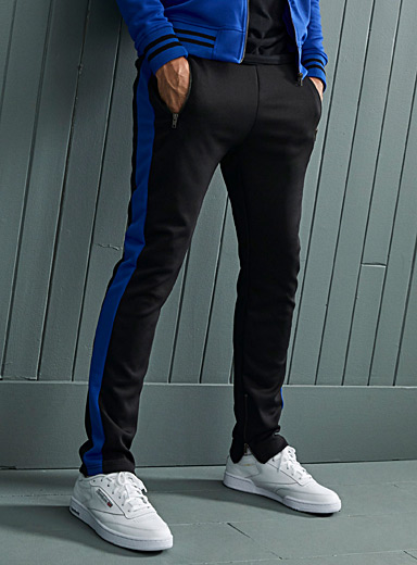 Le 31 Black Colour block track pant for men