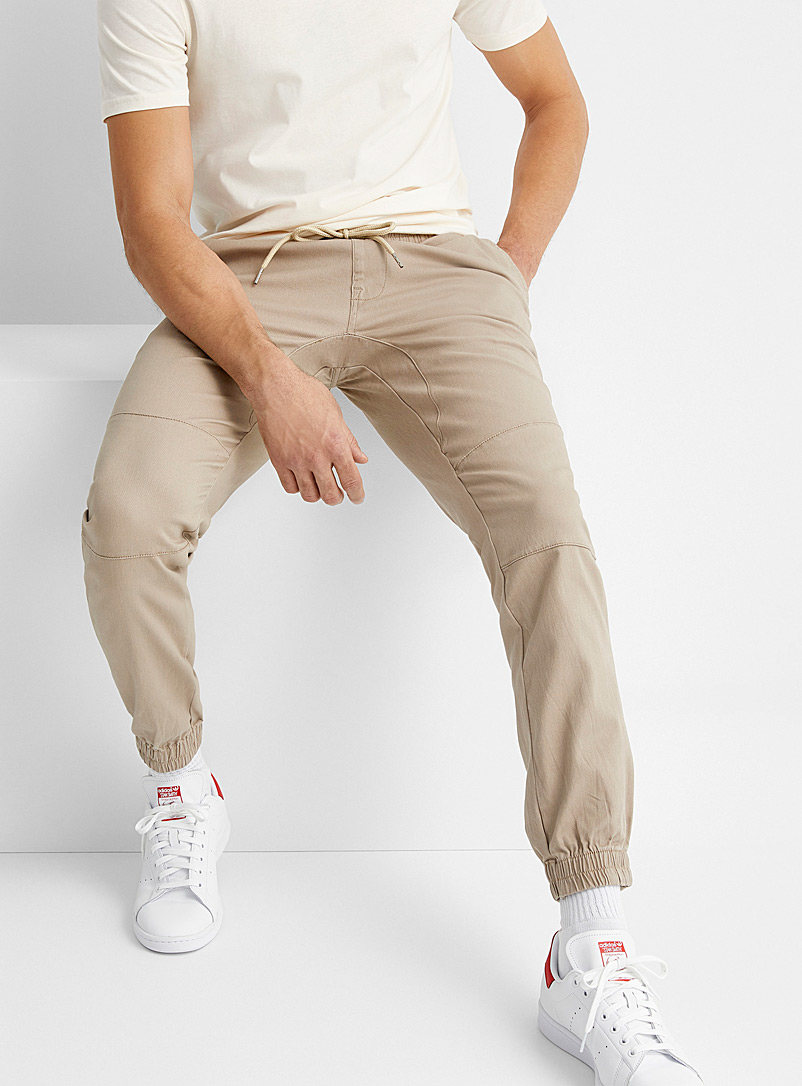 Le 31 Sand Stretch chino joggers for men