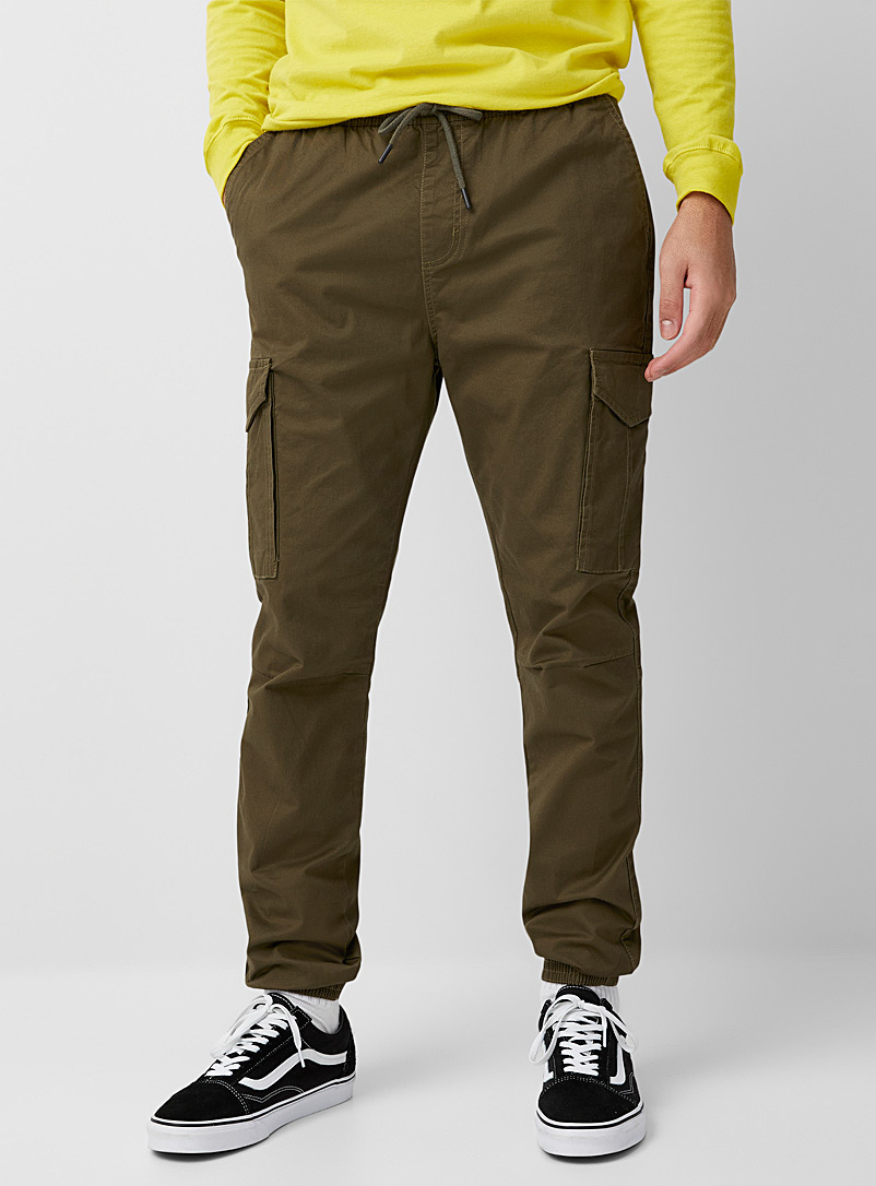 Djab Khaki Organic cotton cargo joggers for men