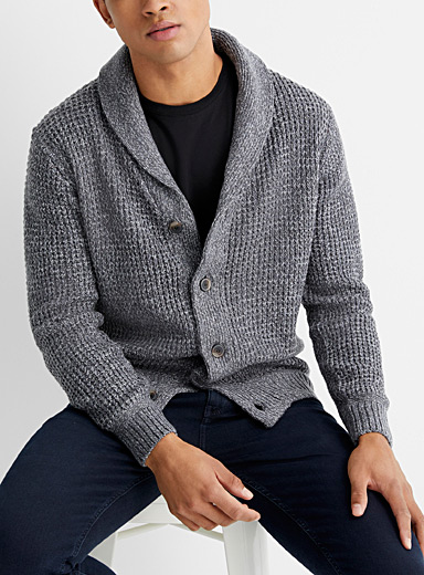 Le 31 Charcoal Basketweave knit shawl-collar cardigan for men