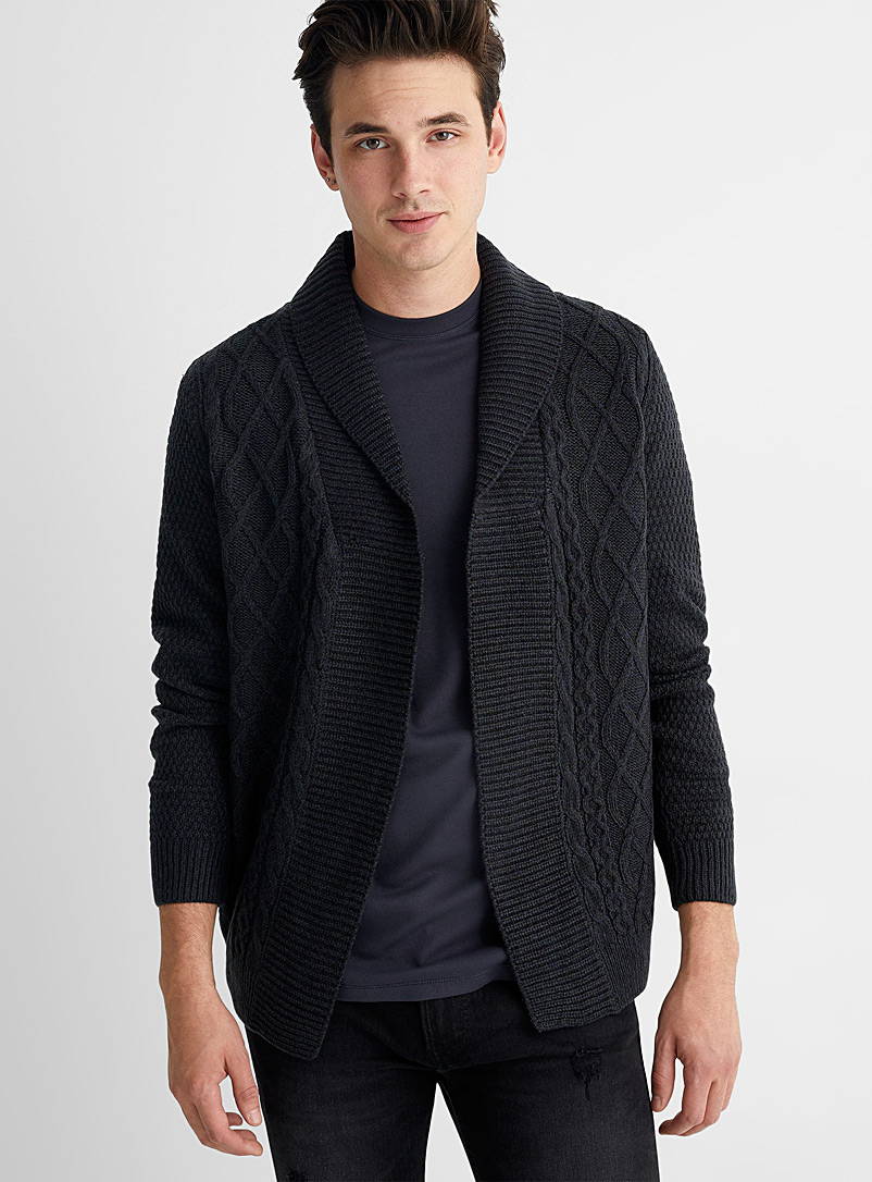 Le 31 Marine Blue Heathered knit open cardigan for men