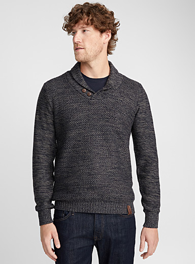 Geo knit shawl-collar sweater