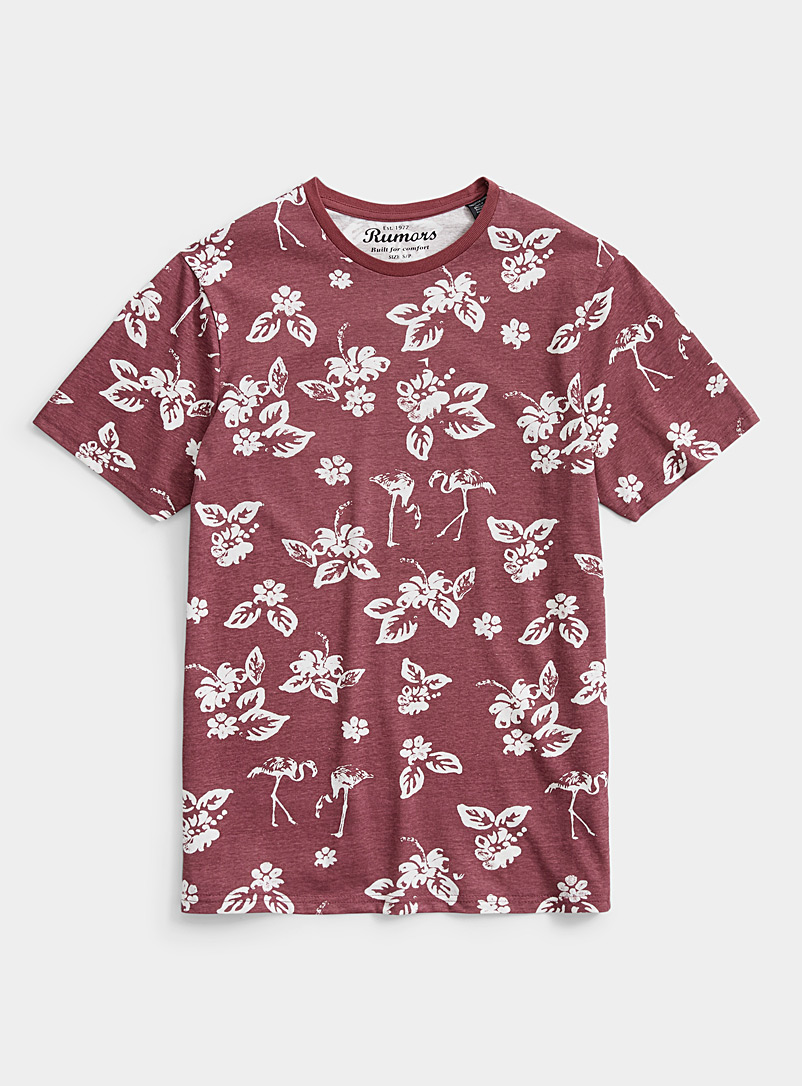 Rumors Ruby Red Tropical foliage T-shirt for men