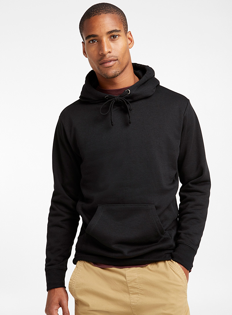 Le 31 Black Coloured pouch-pocket hoodie for men