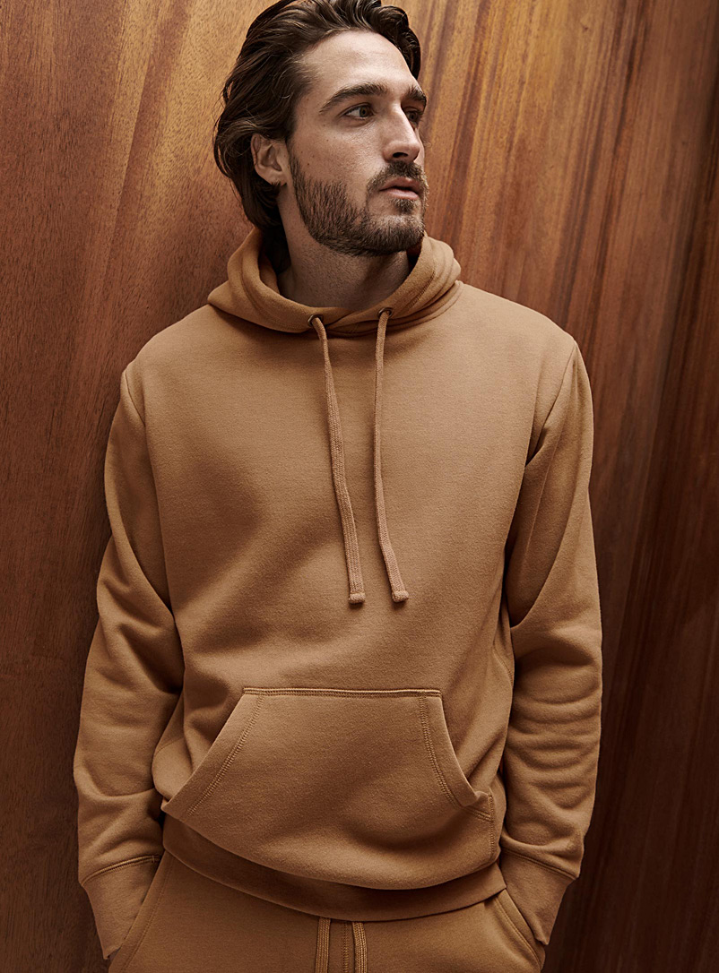 Le 31 Fawn Minimalist pouch-pocket hoodie for men