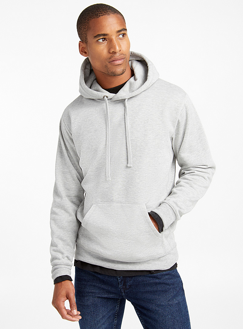 Le 31 Grey Minimalist pouch-pocket hoodie for men