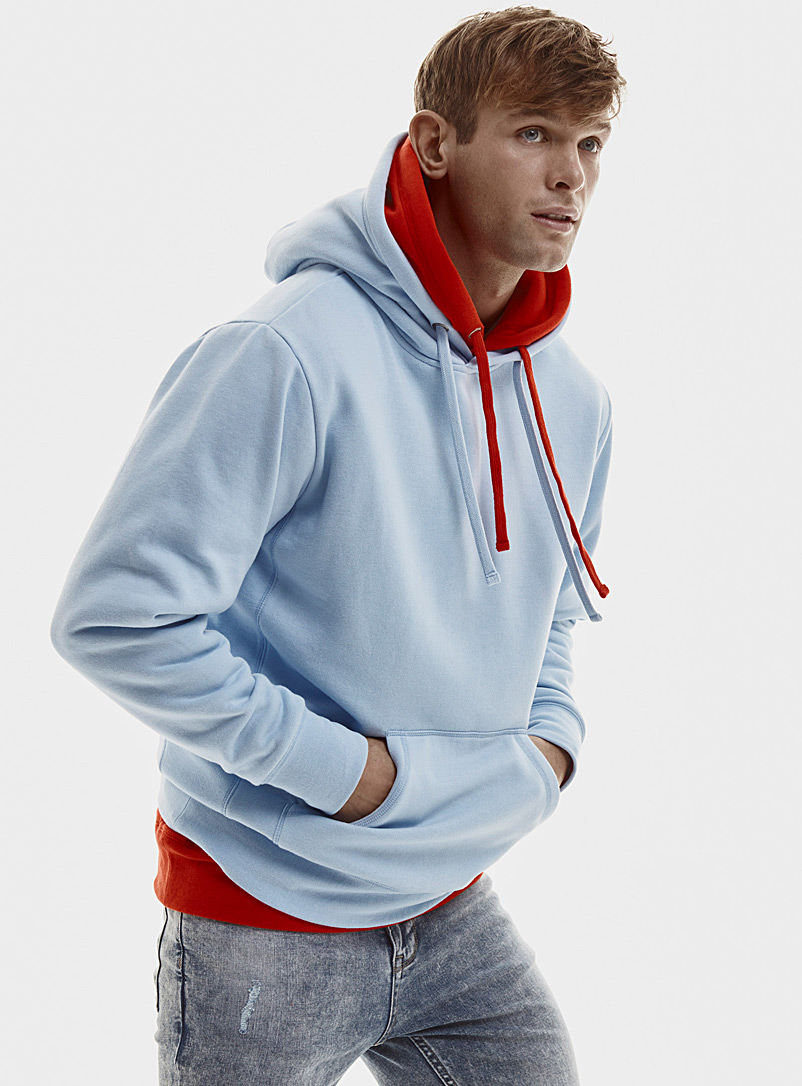 Coloured pouch-pocket hoodie - Sweatshirts & Hoodies - Patterned Blue
