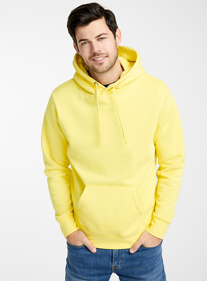 Le 31 Bright Yellow Coloured pouch-pocket hoodie for men