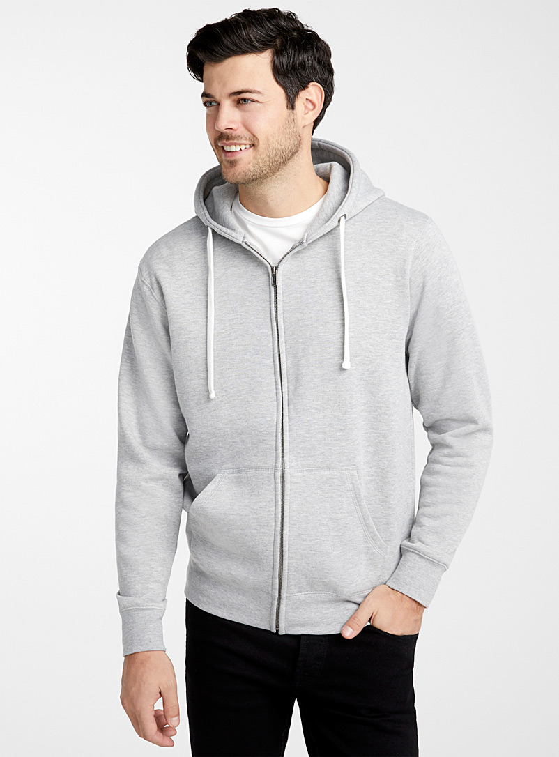 Le 31 Light Grey Minimalist zip hoodie for men