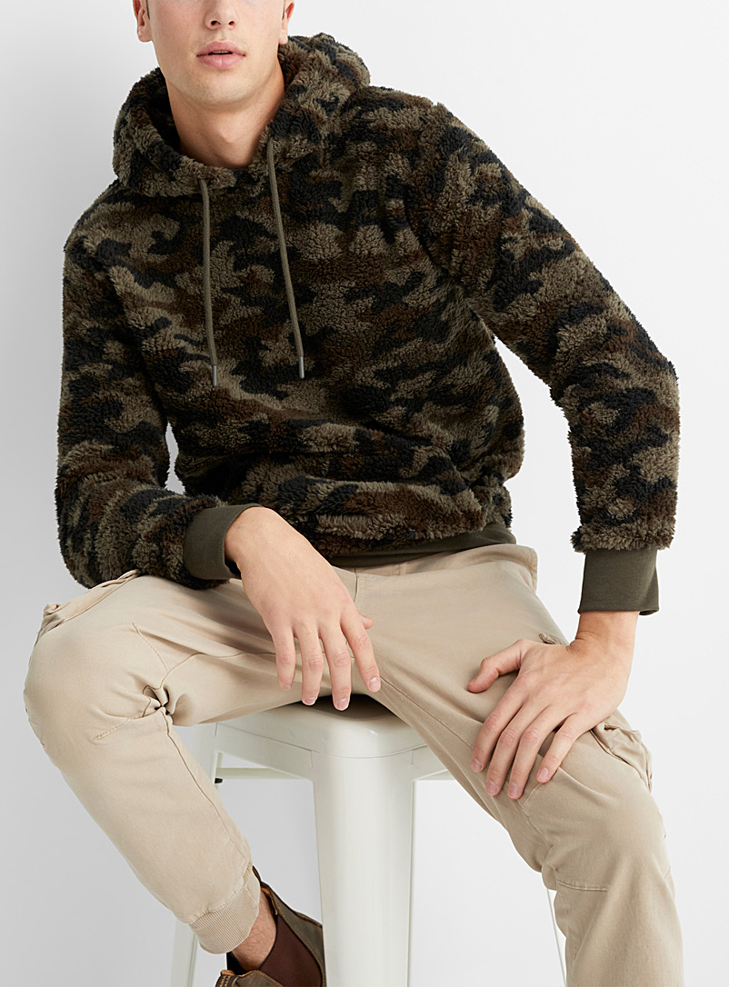 Le 31 Patterned Green Patterned plush hoodie for men