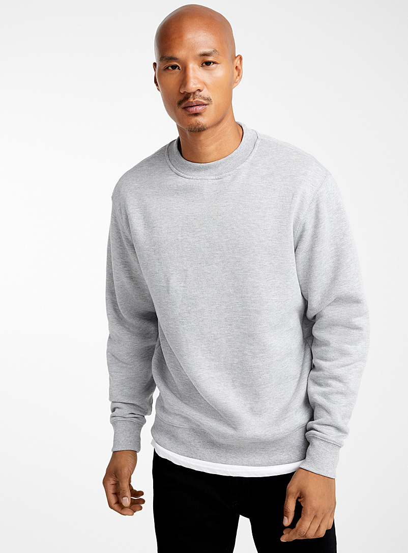 Le 31 Grey Modern crew-neck sweatshirt for men