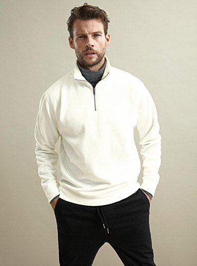 Le 31 Ivory White Half-zip collar sweatshirt for men