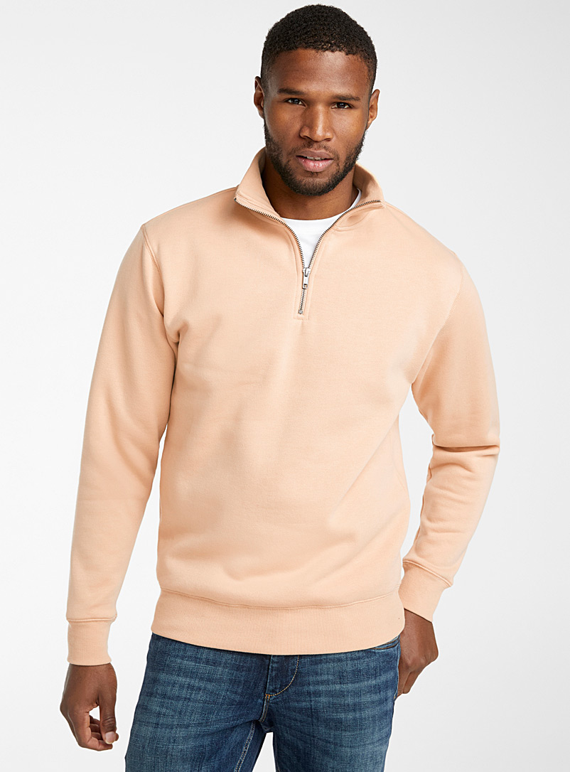 Le 31 Sand Half-zip collar sweatshirt for men