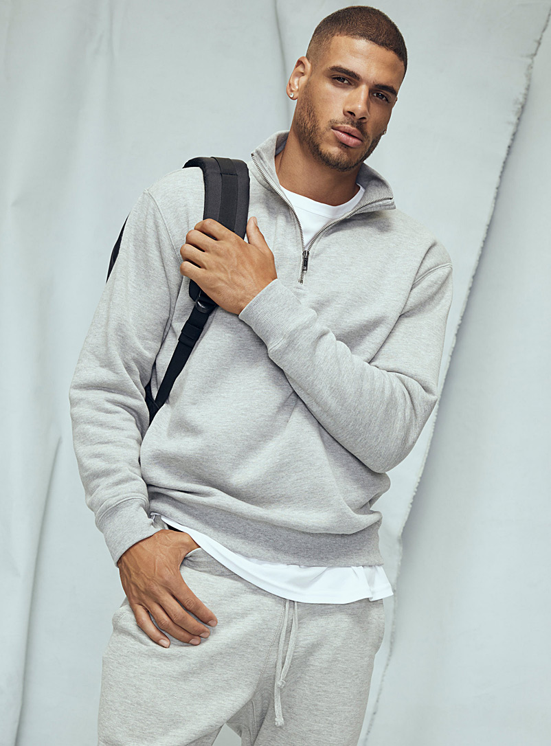 Le 31 Grey Half-zip collar sweatshirt for men
