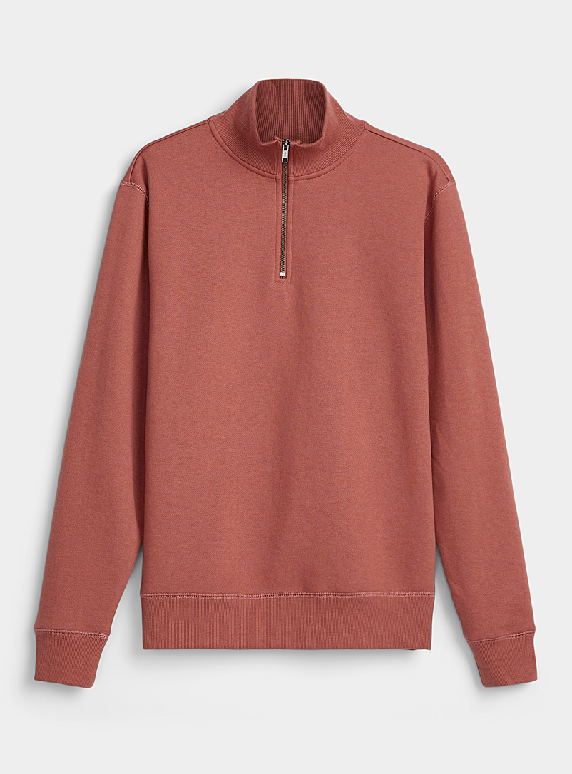 Le 31 Light Red Half-zip collar sweatshirt for men