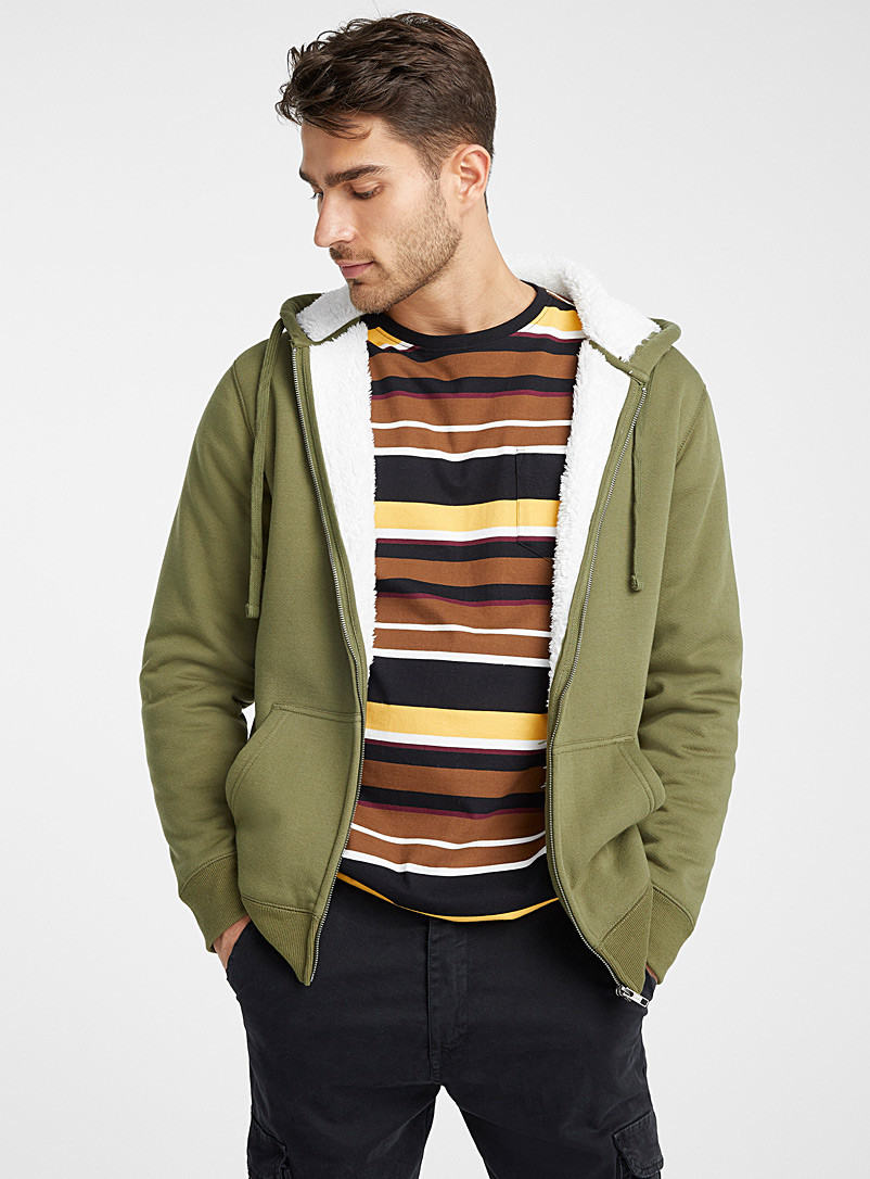 Le 31 Green Plush-lined hooded cardigan for men