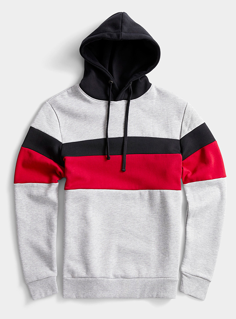 Le 31 Grey Tricolour block hooded sweatshirt for men