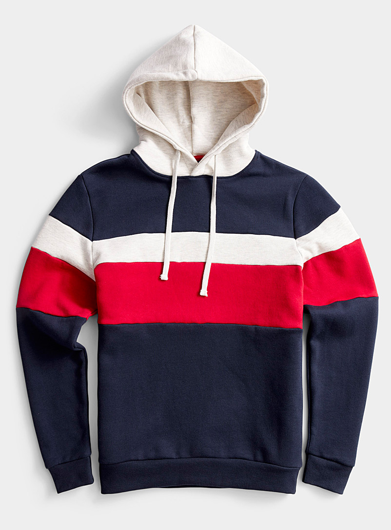 Le 31 Marine Blue Tricolour block hooded sweatshirt for men