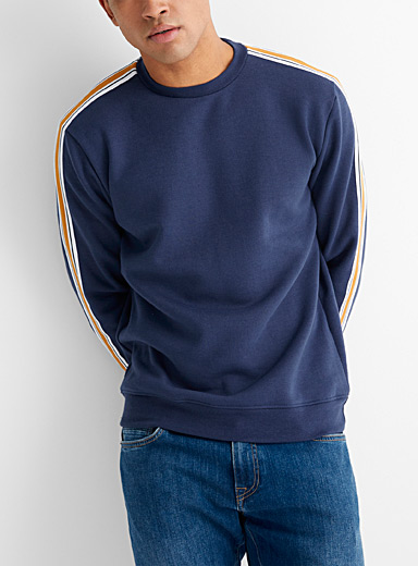 Le 31 Marine Blue Striped band sweatshirt for men