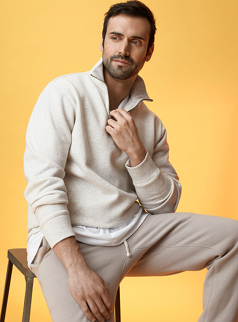 Le 31 Cream Beige Eco-friendly minimalist half-zip sweatshirt for men
