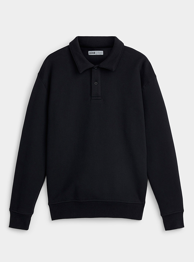 Djab Black Boxy polo sweatshirt for men