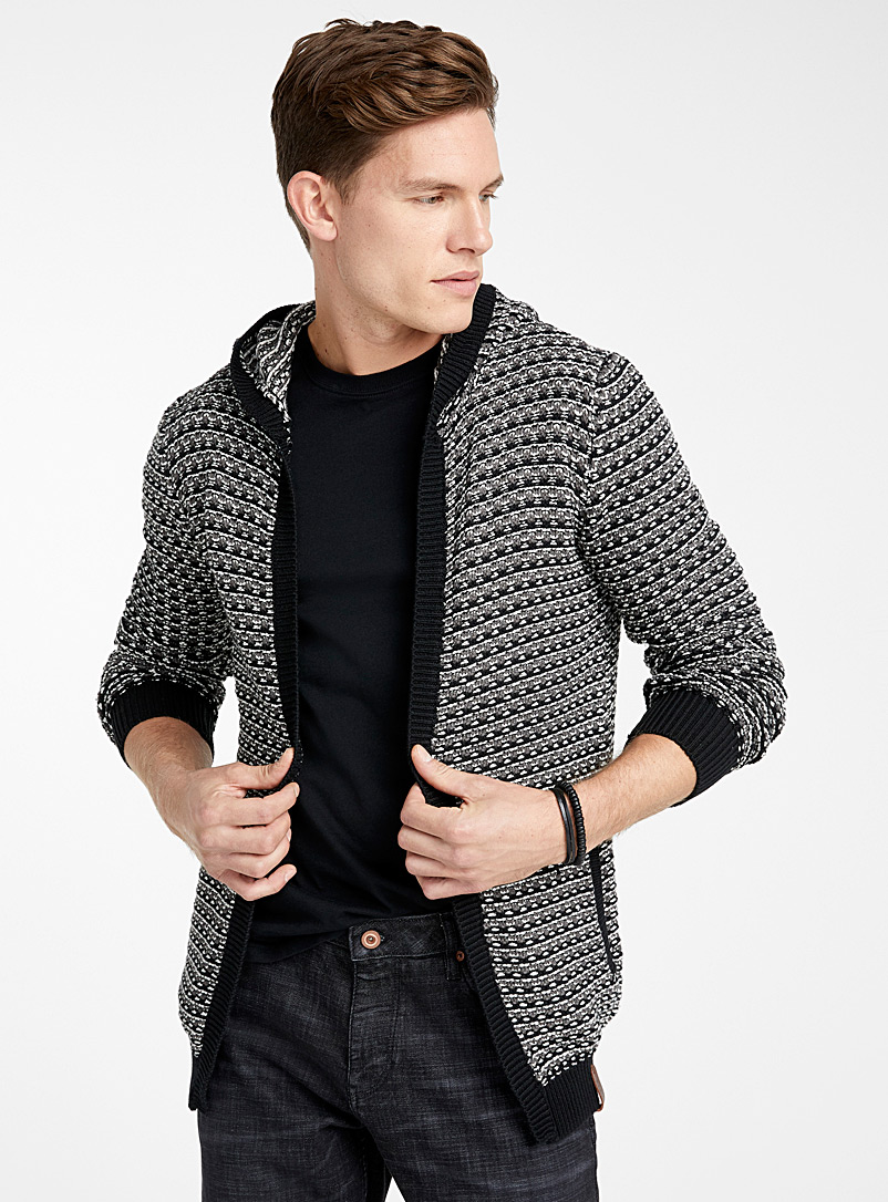 hooded-mixed-knit-open-cardigan