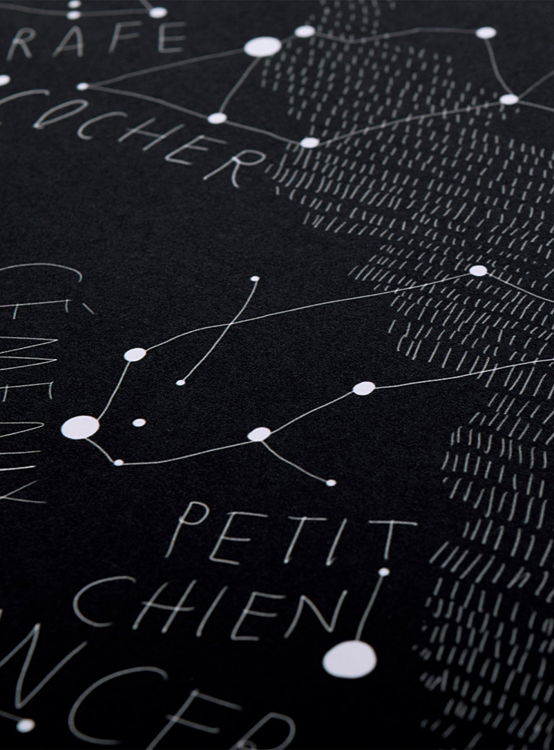 Sky Map poster  2 sizes available - Baltic Club - Black