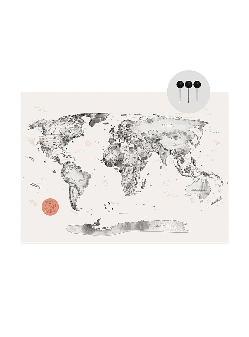 Map of the World on cork poster  2 sizes available - Baltic Club - English