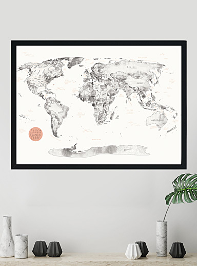 World map cork art print  3 sizes available