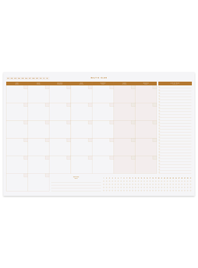 Baltic Club Dusky Pink Vintage coloured monthly planner