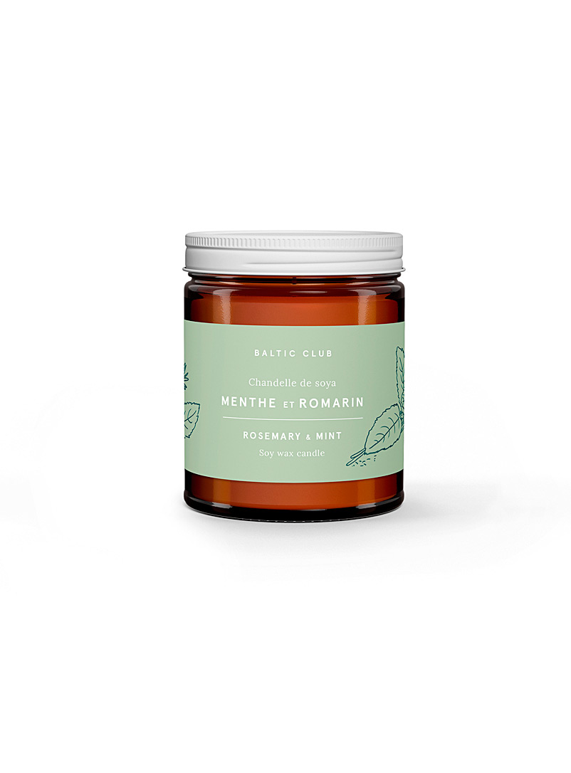 Baltic Club Rosemary & Mint Infused by nature scented soy candle in an amber jar 10 fragrances available