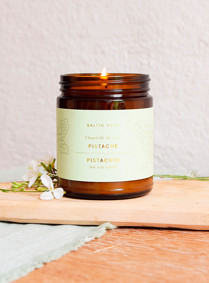 Baltic Club Bamboo Infused by nature scented soy candle in an amber jar 10 fragrances available