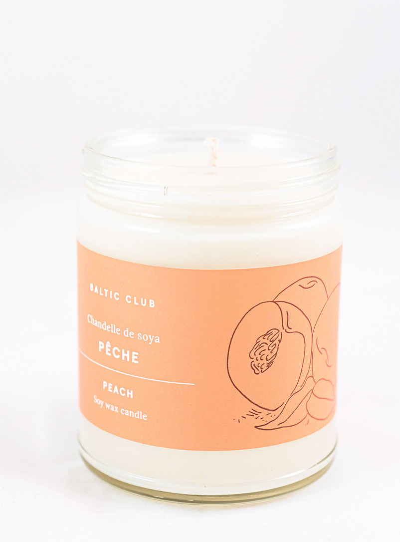 Baltic Club Peach Infused by nature scented soy candle in a transparent jar 10 fragrances available