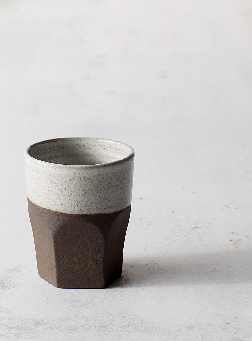 A + J Métissage Medium Brown Ceramic tumbler 7 oz.