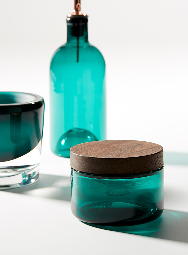 Blown glass and wood salt cellar - A+J Métissage - Teal