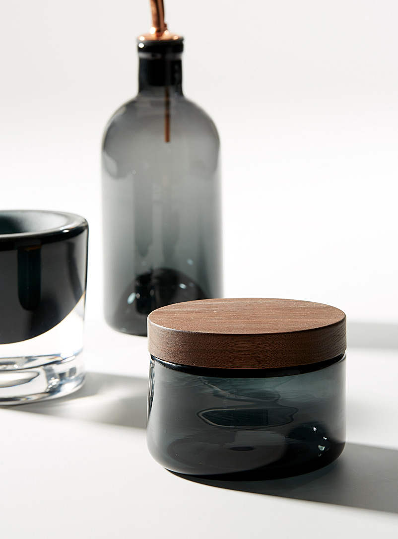 Blown glass and wood salt cellar - A+J Métissage - Dark Grey