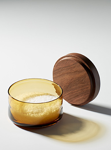 Blown glass and wood salt cellar