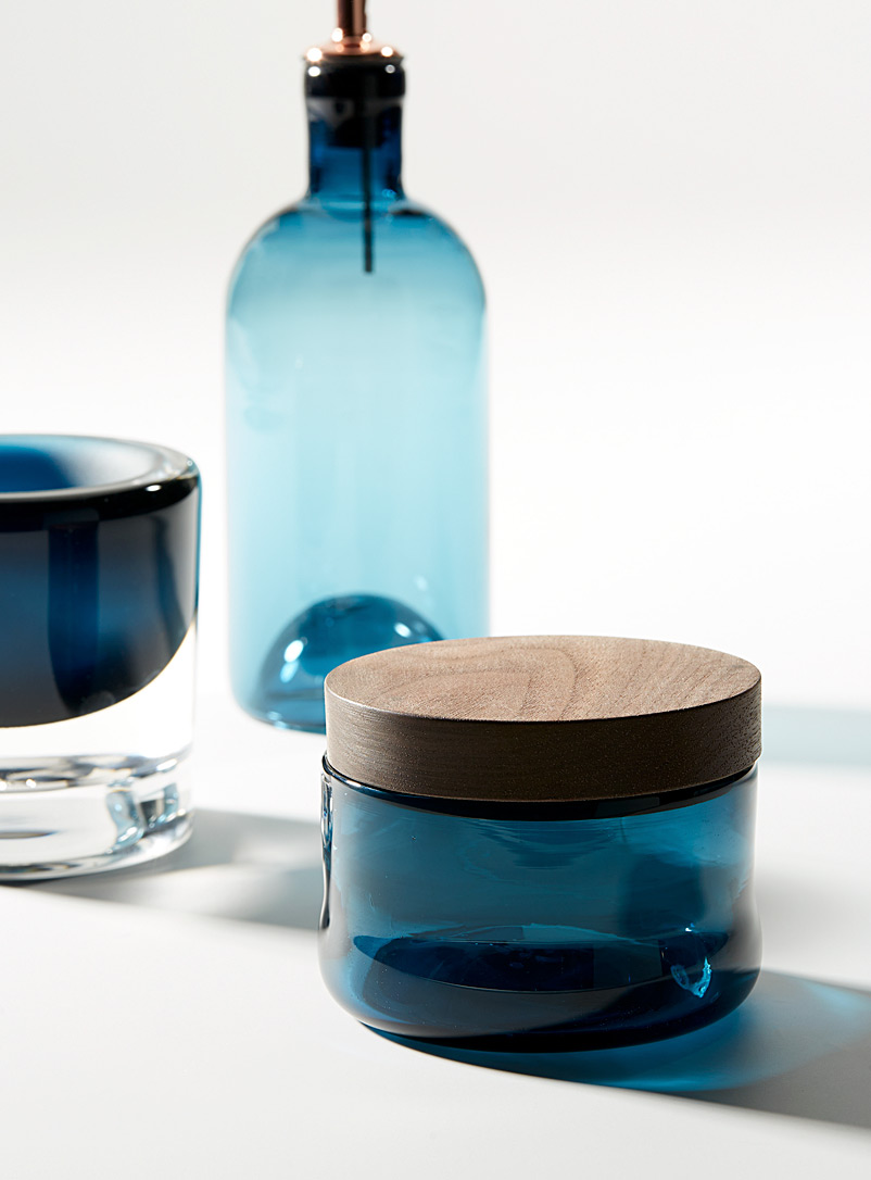 Blown glass and ceramic mortar and pestle set - A+J Métissage - Dark Blue