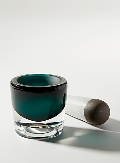 Blown glass and ceramic mortar and pestle set