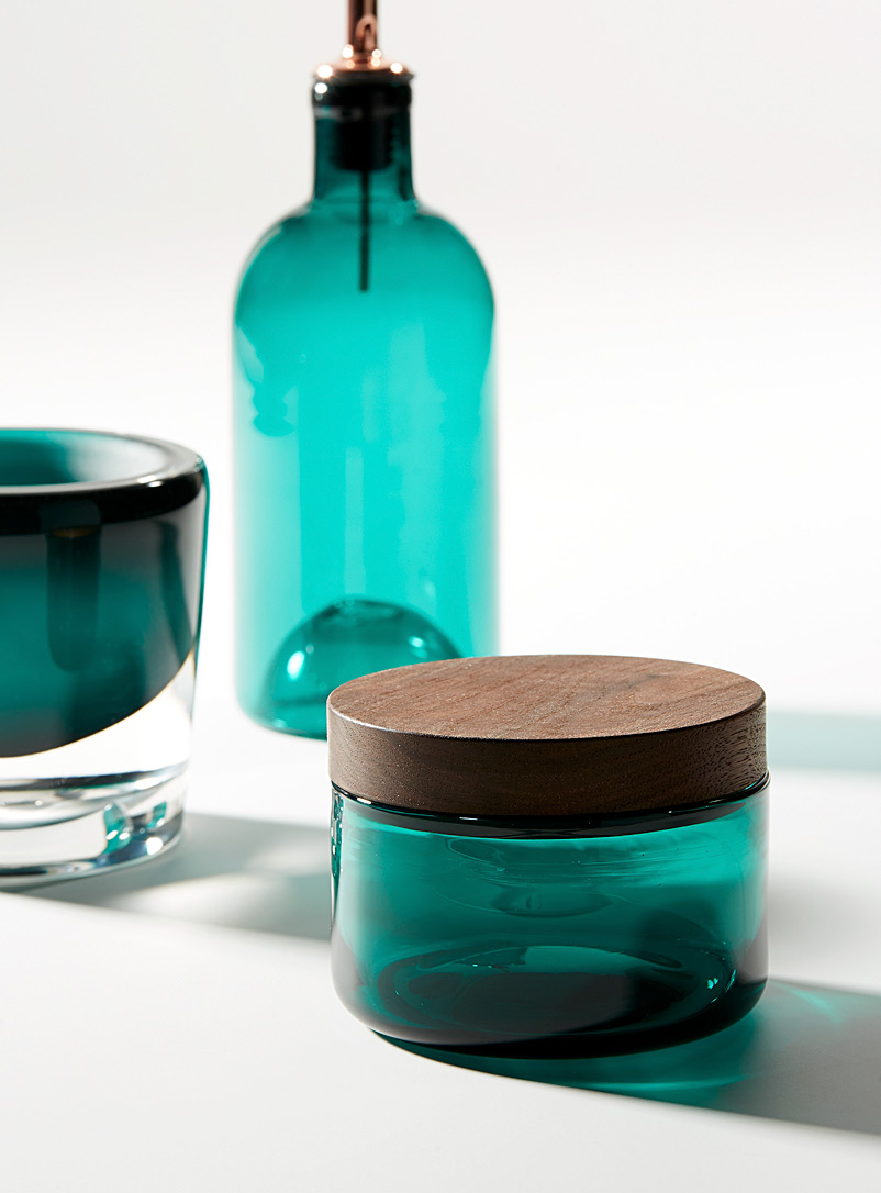 Blown glass and ceramic mortar and pestle set - A+J Métissage - Teal