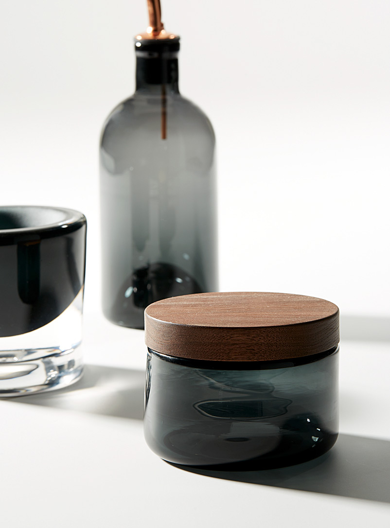 Blown glass and ceramic mortar and pestle set - A+J Métissage - Dark Grey