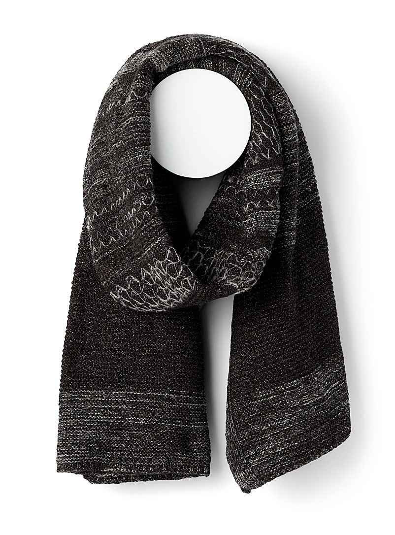 Julius Charcoal Textured blanket scarf for men