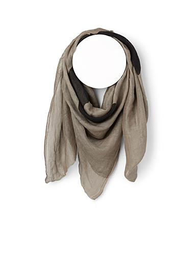 Julius Charcoal Linen and silk scarf for men