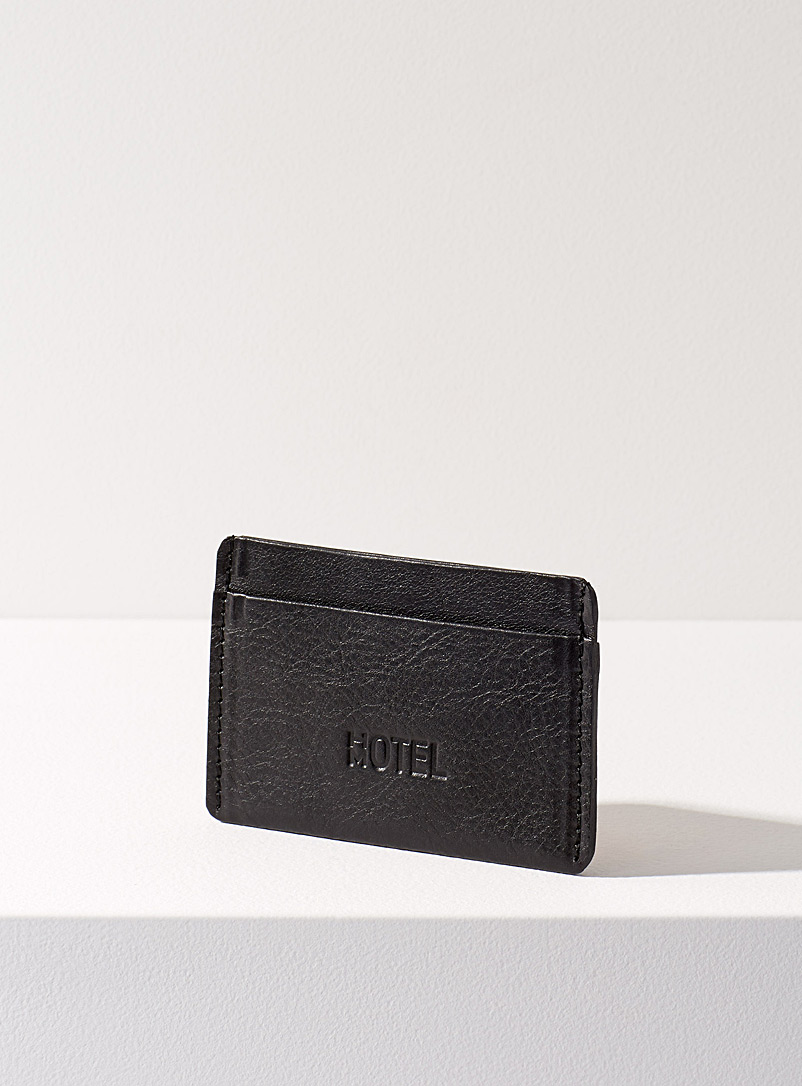 Minimalist leather card holder - HOTELMOTEL - Black
